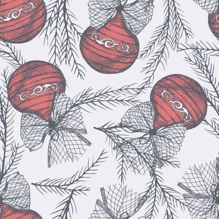 Seamless pattern with sketch Christmas balls 版權商用圖片