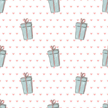 Seamless vector holiday pattern. Beautiful gift box with ribbon. Sketch style. Christmas illustration of present on white background.
