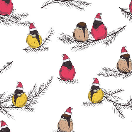 Titmouse, bullfinch. Winter Birds seamless pattern. Birds in Santa Claus hat. BIrds sitting on eve branch. Vector illustration