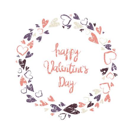 Floral wreath. Valentine`s Day Callygraphic Wreath - hand drawn Vector illustration. Happy Valentine's Day