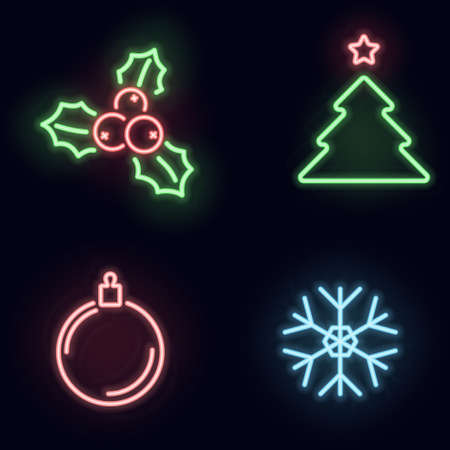 christmas neon icon set