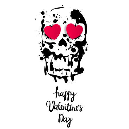 Valentine's Day greeting card. Skull shape with hearts. Inscription happy Valentine's Day. Vector illustration