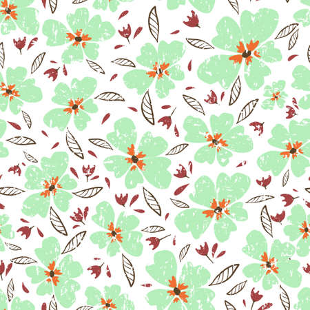 Little flowers. Seamless pattern with cute flowers. Delicate texture 版權商用圖片