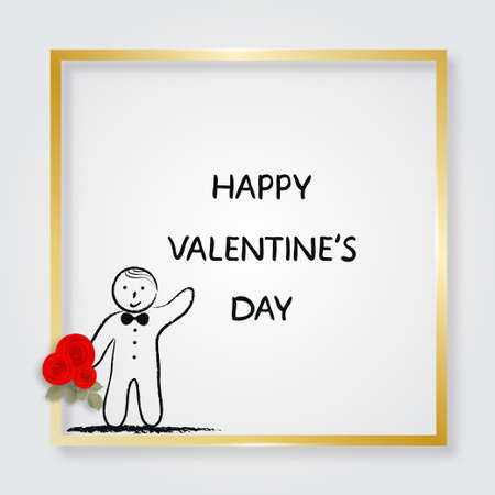 Boy holding bouquet of roses. Golden frame. Valentines Day card. Doodle. Vector illustration