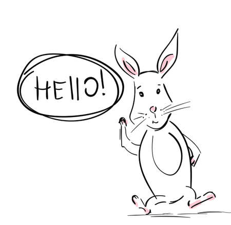 Hare. Cool rabbit with talk bubble and hand drawn speech