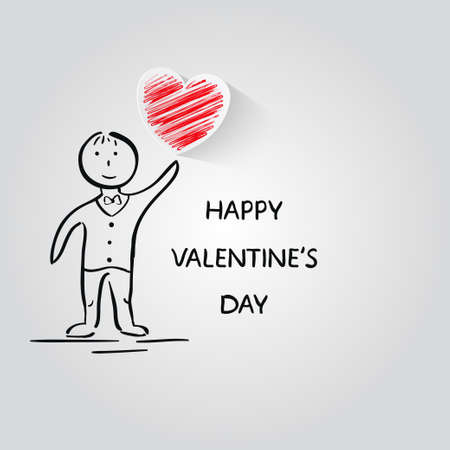 Boy with hearts.Vector illustration. Valentines Day card