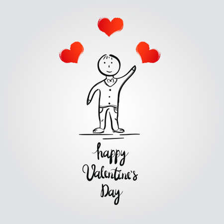 boy with hearts. Valentines Day card. Vector illustration