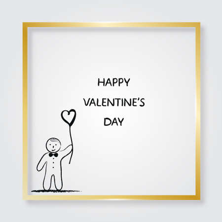 boy with heart shaped balloon.Golden frame. Valentines Day card.Vector illustration 版權商用圖片