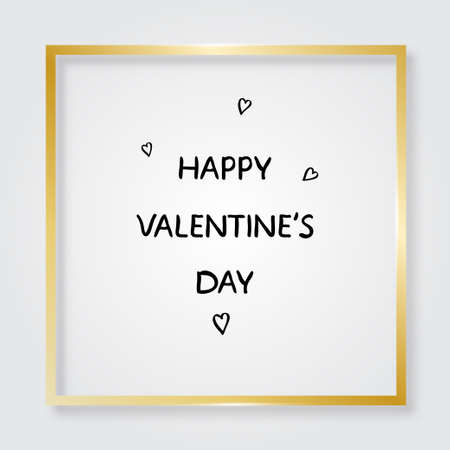 Golden frame. Happy Valentines Day text. Card with gold border and hearts. Vector illustration 版權商用圖片