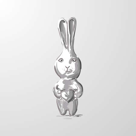 Hare. Cute Cartoon gray Rabbit with heart