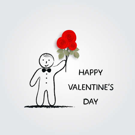 Boy holding bouquet of roses. Valentines Day card. Doodle. Vector illustration