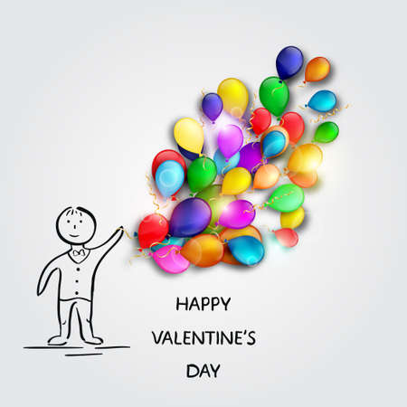 boy with balloons. Valentines Day card. Vector illustration