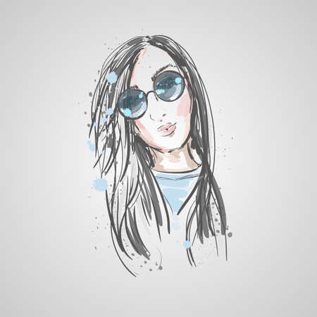 Stylish beautiful young woman in sunglasses. Sketch.