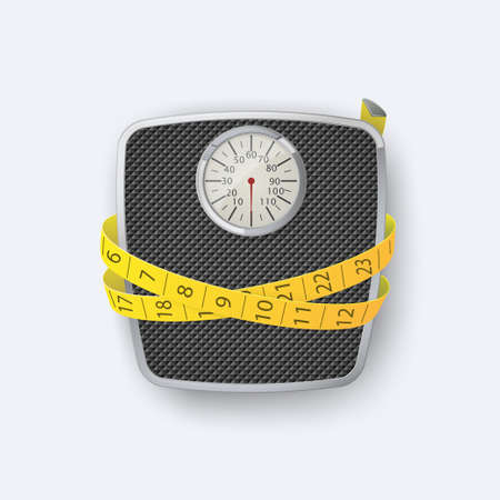 Weight scale.Bathroom floor weight scale and measuring tape. Vector illustration 向量圖像