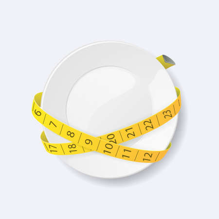 Clean plate with measuring tape as diet concept. Vector illustration