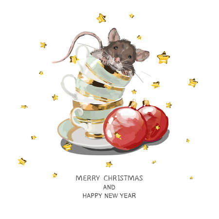 Christmas card. Mice in cup. Red Christmas balls. Happy New Year background
