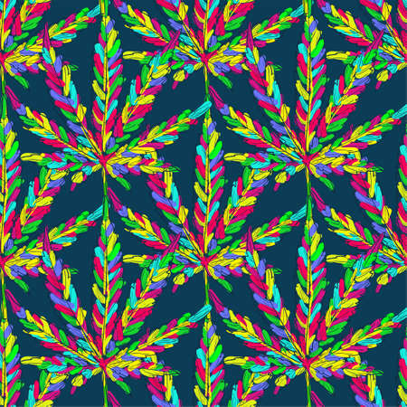 Cannabis seamless pattern. Marijuana leaves