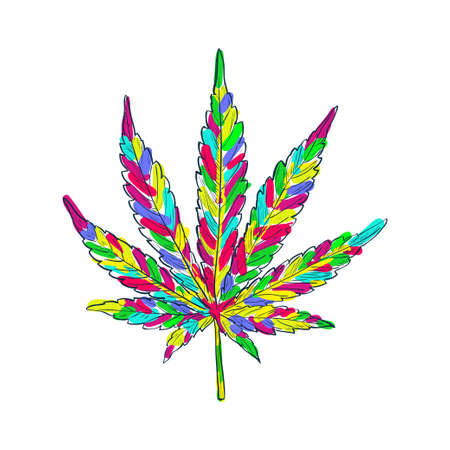 Cannabis seamless pattern. Marijuana colored leaf