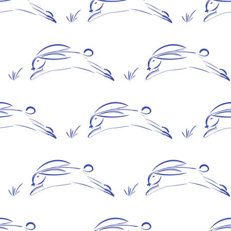 Seamless pattern with cute rabbits. Vector illustration.