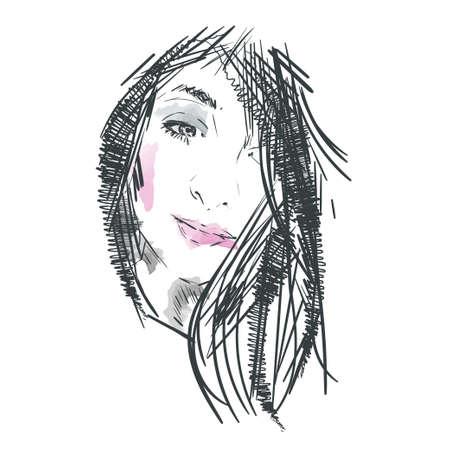 Female face, vector illustration