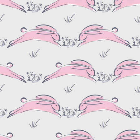 Hare sketch. Seamless pattern with cute hares 向量圖像