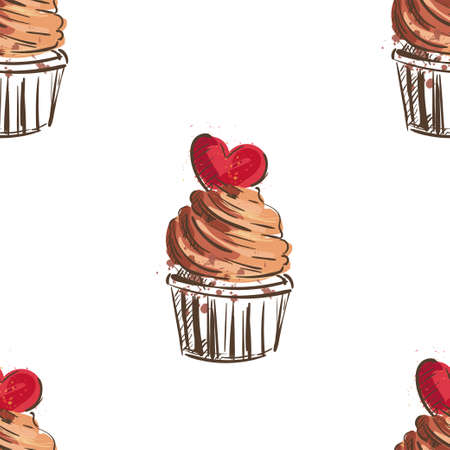 Seamless sweet cupcake party background pattern in vector
