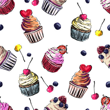 Cupcake. Seamless colorful vector cupcake pattern. Sketch 向量圖像