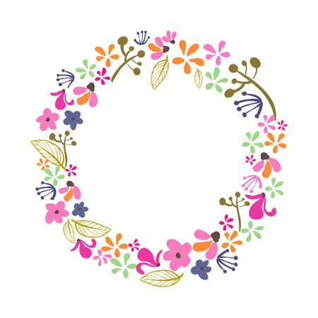Floral Frame. Cute retro flowers arranged un a shape of the wreath. Hello spring
