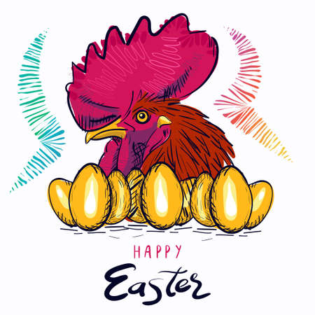Happy Easter. Rosster. Eggs. Greeting easter card