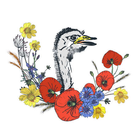 Cute Easter artistic greeting card. Goose and floral wreath. Spring concept, vintage design. Vector illustration background. 向量圖像