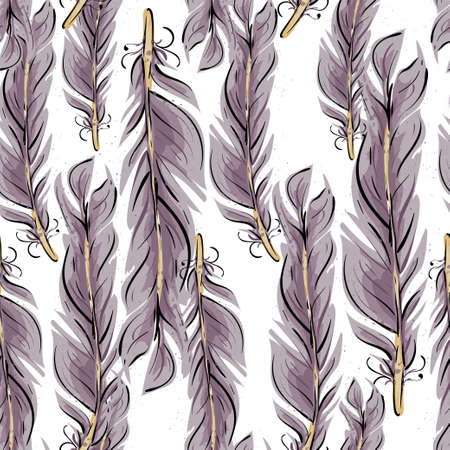 Feathers seamless pattern. Abstract feathers background fpr yur design