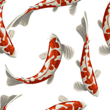 Fish seamless pattern can be used for wallpaper, website background, textile printing. Koi fish seamless pattern