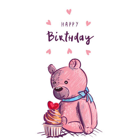 Teddy bear with cake. Happy birthday greeting card 向量圖像