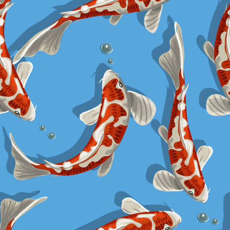 Fish seamless pattern can be used for wallpaper, website background, textile printing. Koi fish seamless
