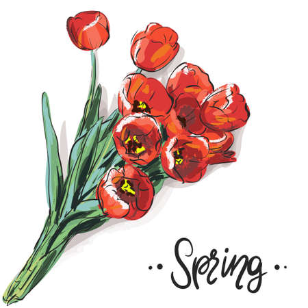 Floral background with red tulips
