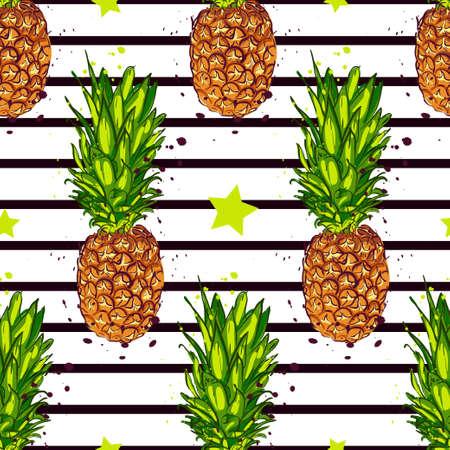 Cartoon pineapple. vector background. Cute summer pattern.