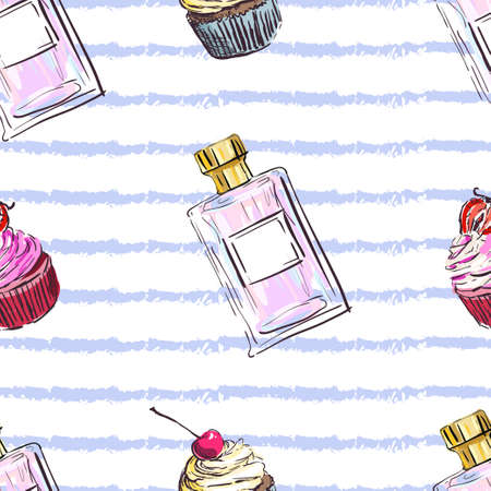 Perfume seamless pattern. Seamless background with cupcakes. Hand drawn perfume fragrances bottles 向量圖像