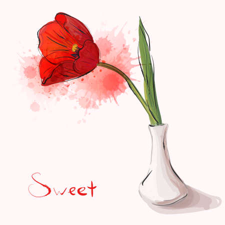 Gorgeous vase with tulip. Vector card for beautiful invitations