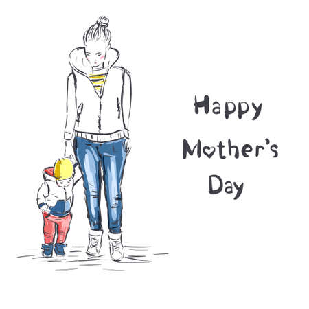 Beautiful mother silhouette with her baby. Happy Mothers Day. 向量圖像