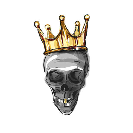 vector skull wearing a king crown isolated on a white background. Skull. Gold crown