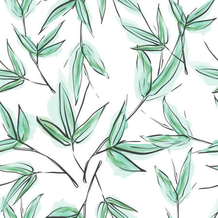 Bamboo. Bmboo seamless pattern. Floral seamless background. Green leave seamless 向量圖像