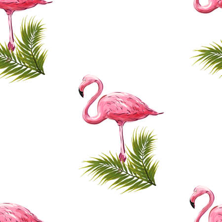 Flamingo seamless pattern. Pink flamingos, exotic birds, tropical palm leaves, trees, jungle leaves seamless vector floral pattern 向量圖像