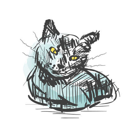 Cat. Vector sketch isolated on awhite background. Cat in artictic style