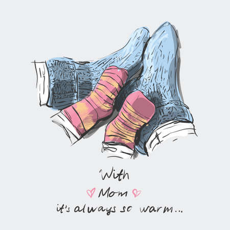 Happy family in color stripy socks - mom, and child. Happy Mother day. With mom it's always so warm