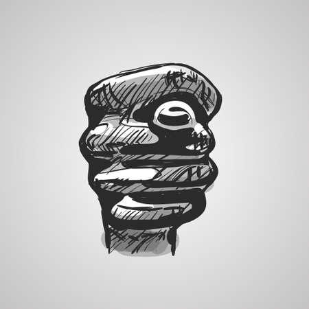 Hand gesture showing a fig. Fig sign sketch