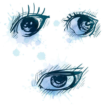Set eyes with vector watercolor drops