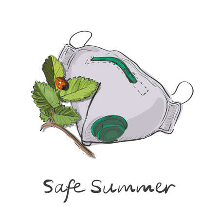 Safety breathing masks. Hospital or pollution protect face masking with tree branch and lady bug. Safe summer