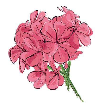 Floral background. Pink flower branch. Vector illustration