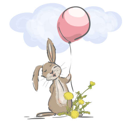 Little hare with balloon and flower. Vectoe illustration