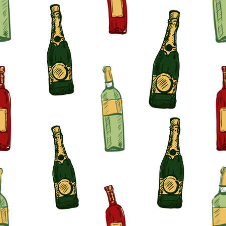 seamless abstract background with wine bottles.Vector illustration 向量圖像